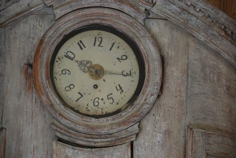 18th Century Swedish Demi lune Clock Cupboard For Sale 2