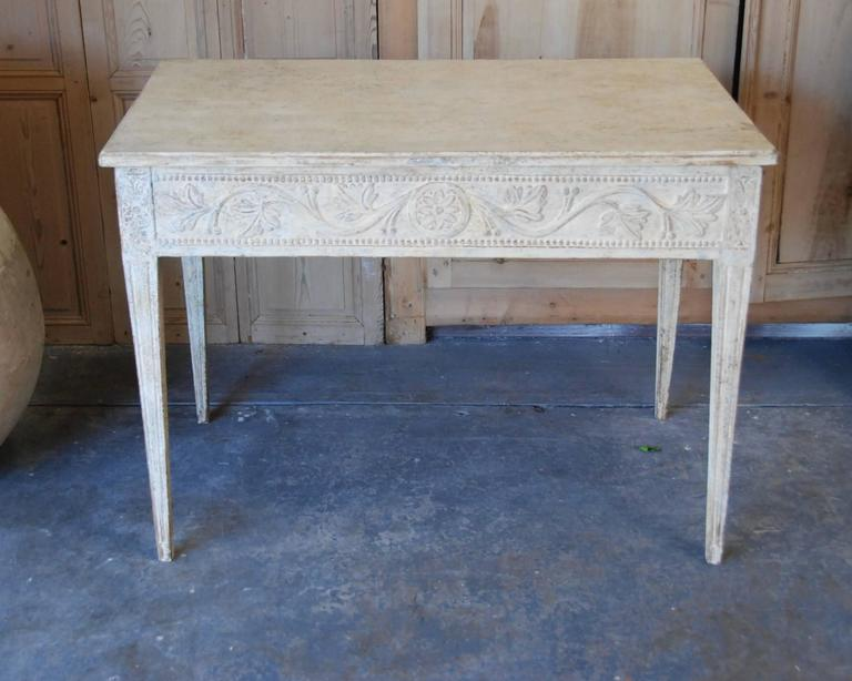 Gustavian 19th Century Swedish Carved Console Table For Sale