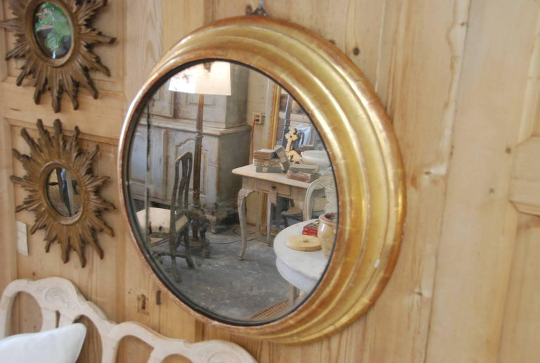 19th Century French Round Gilded Mirror 9
