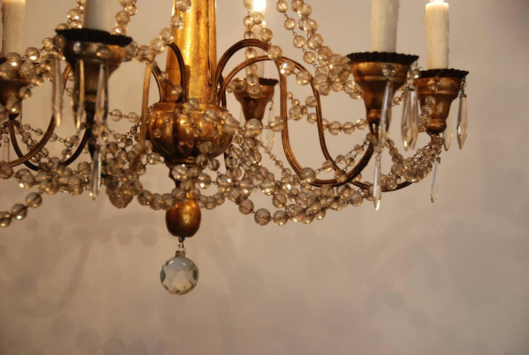 19th Century Italian Wood and Crystal Chandelier 7