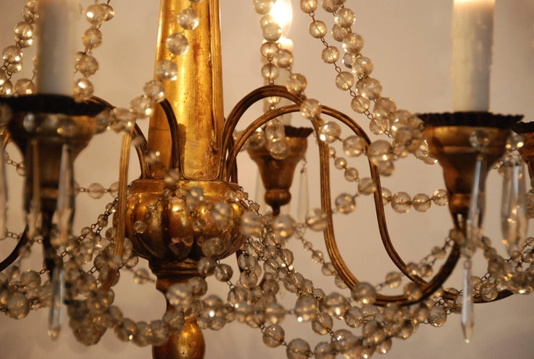 19th Century Italian Wood and Crystal Chandelier 8