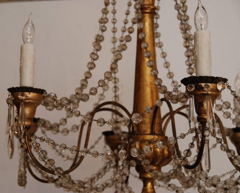 19th Century Italian Wood and Crystal Chandelier 10