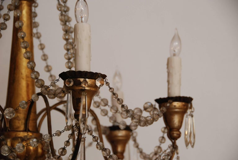19th Century Italian Wood and Crystal Chandelier 9