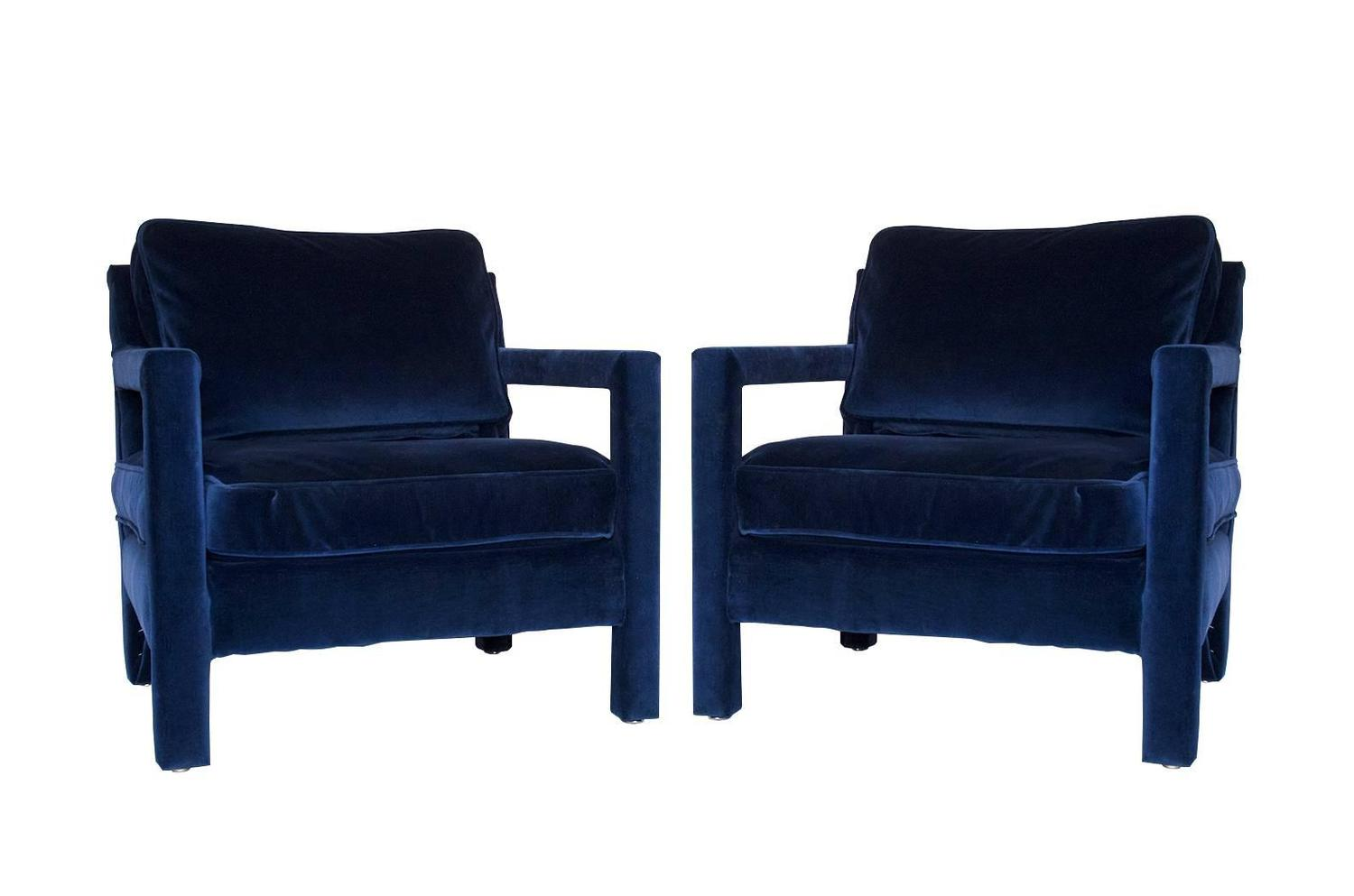 Pair of milo baughman style parsons lounge chairs at 1stdibs for What is a parsons chair style