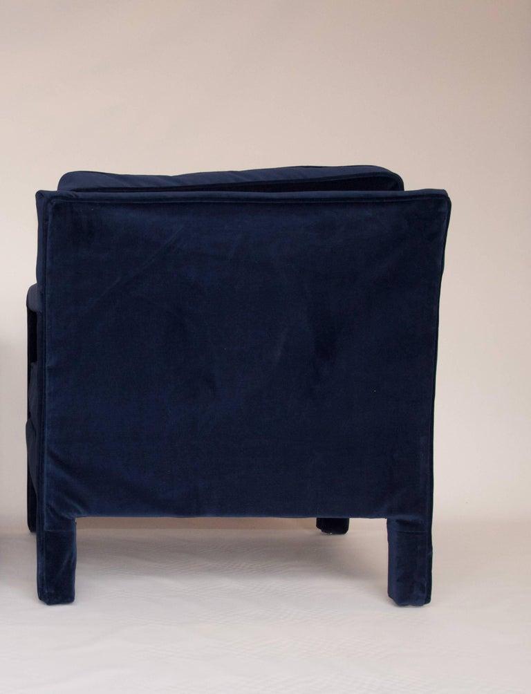 Mid-Century Modern Milo Baughman Style Parsons Upholstered Lounge Chair in Velvet For Sale