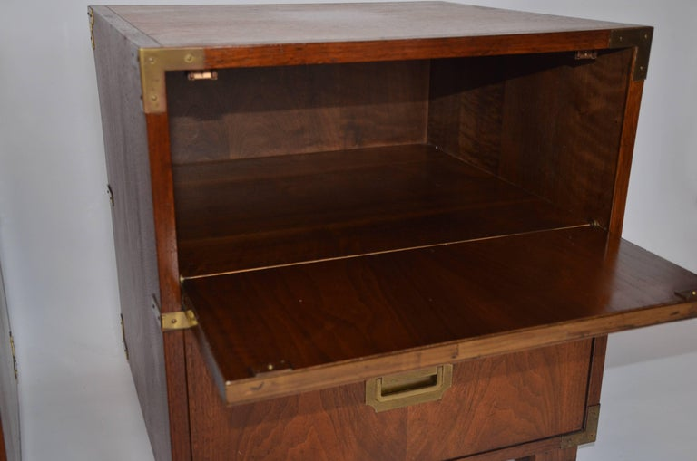 Mid-20th Century Pair of Baker Campaign Style Nightstands For Sale