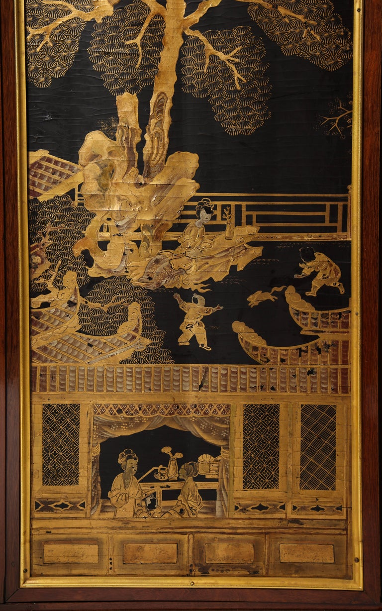 Louis XIV French Louis XVI Style Gilt Bronze-Mounted Mahogany Chinese Lacquered Cabinet For Sale