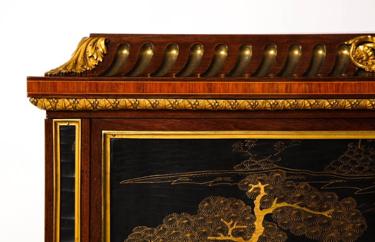 19th Century French Louis XVI Style Gilt Bronze-Mounted Mahogany Chinese Lacquered Cabinet For Sale