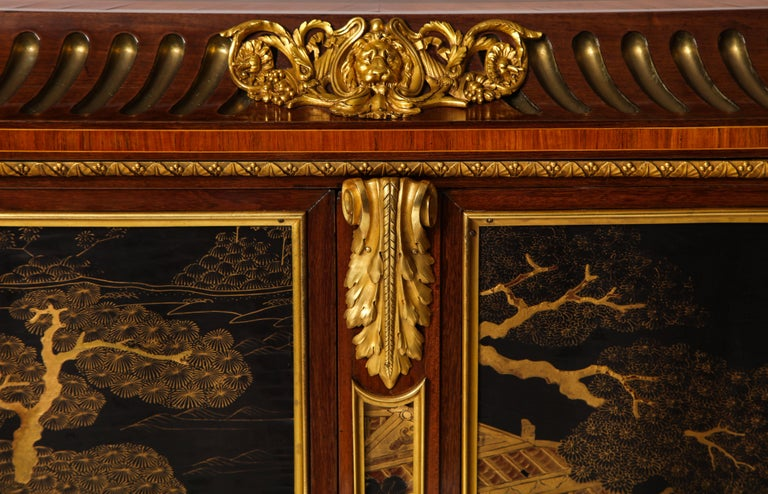 French Louis XVI Style Gilt Bronze-Mounted Mahogany Chinese Lacquered Cabinet For Sale 1