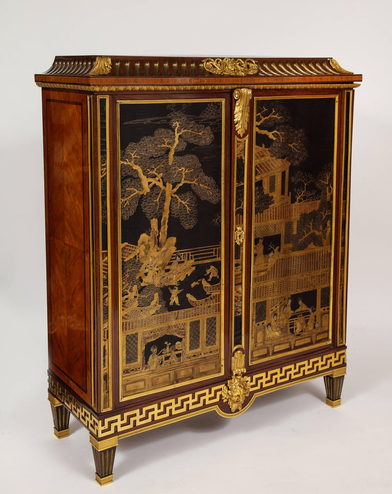 French Louis XVI Style Gilt Bronze-Mounted Mahogany Chinese Lacquered Cabinet For Sale 3