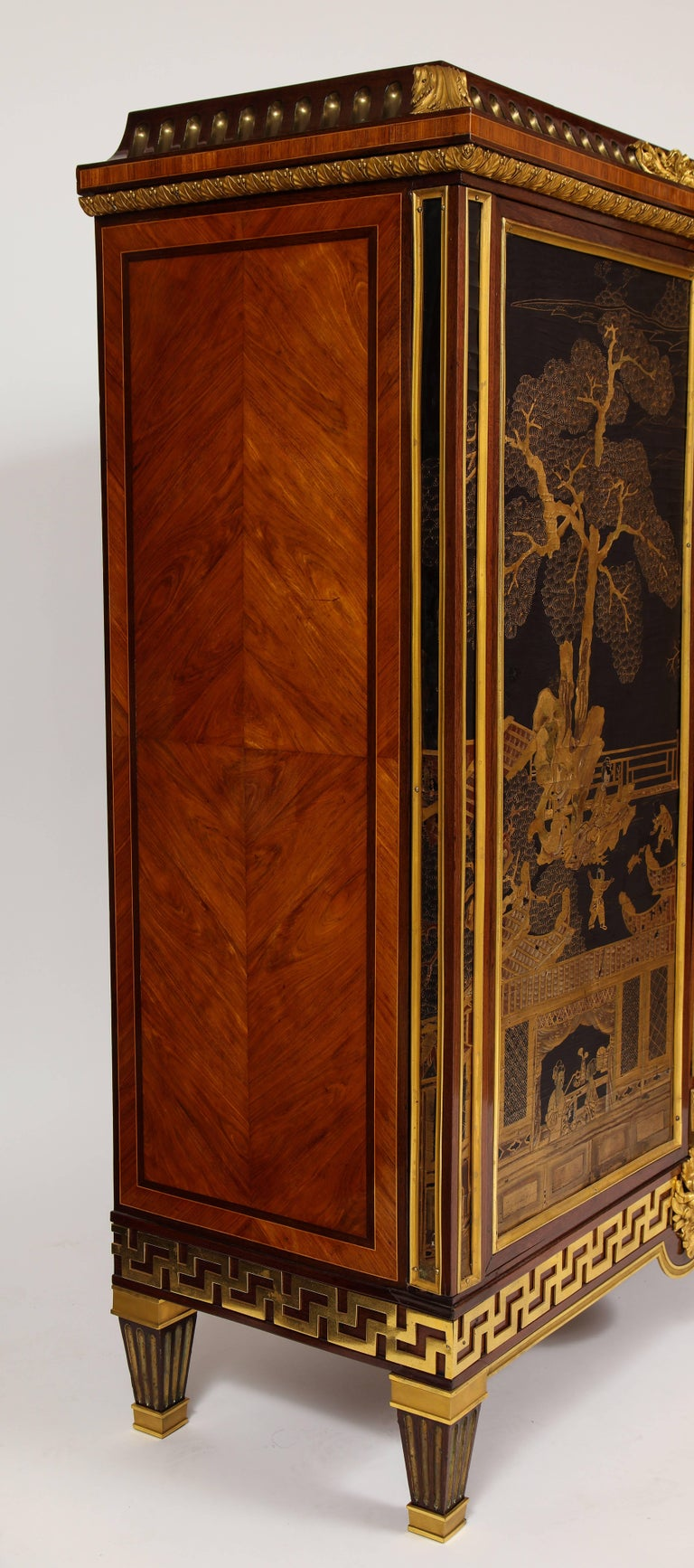 French Louis XVI Style Gilt Bronze-Mounted Mahogany Chinese Lacquered Cabinet For Sale 4