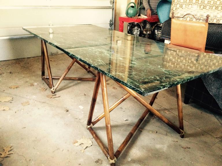 Large Green Marble McGuire Dining Table Or Desk With Rattan Wrapped - Used marble dining table