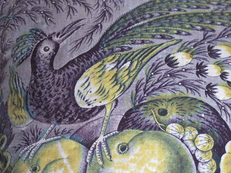 Newly made pillows from an early hand quilted French toile, depicting birds and fruit, in vibrant shades of purple and lime green. The pillows are backed with a coordinating velvet, with a bow closure and include a down insert.  $385 for