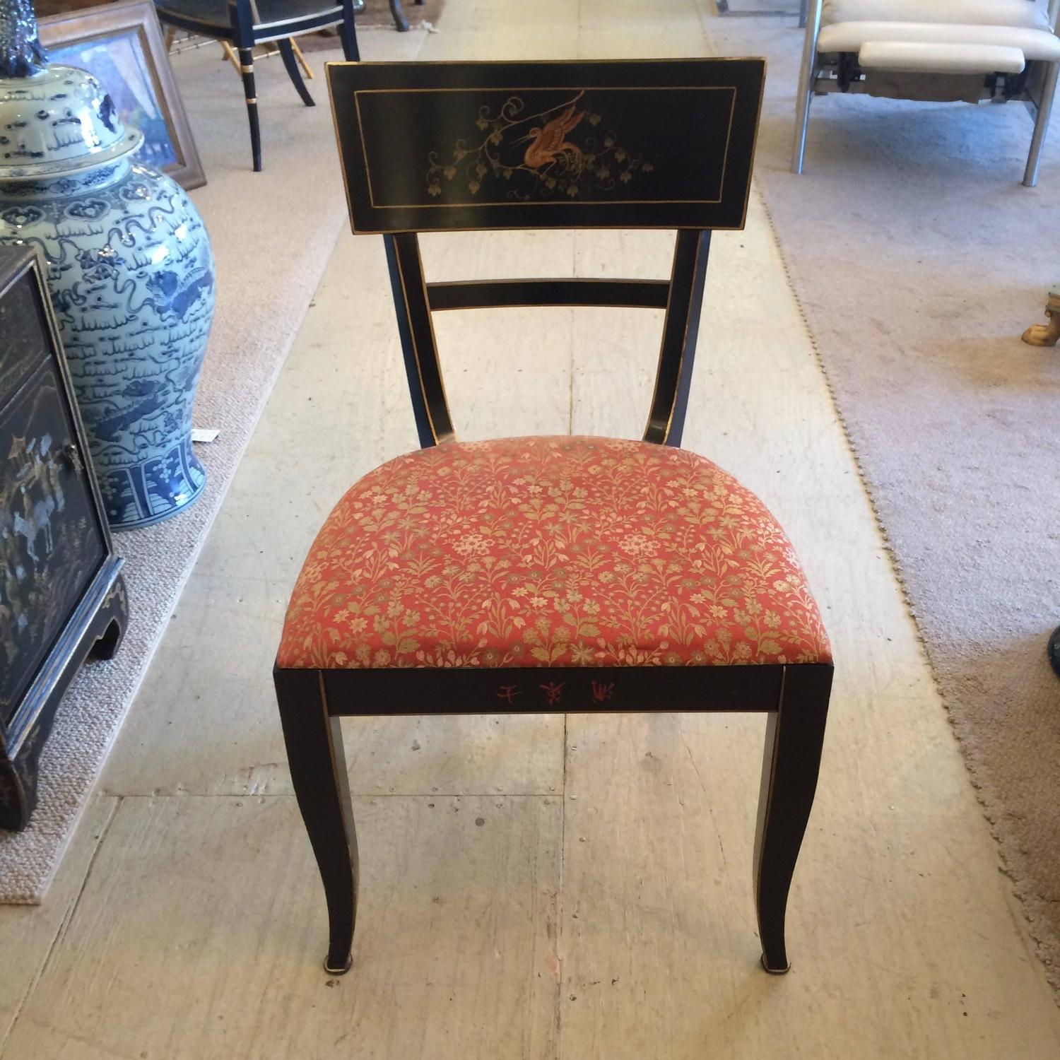 Stately Set Of Six Hand Painted Ebonized Dining Chairs At 1stdibs
