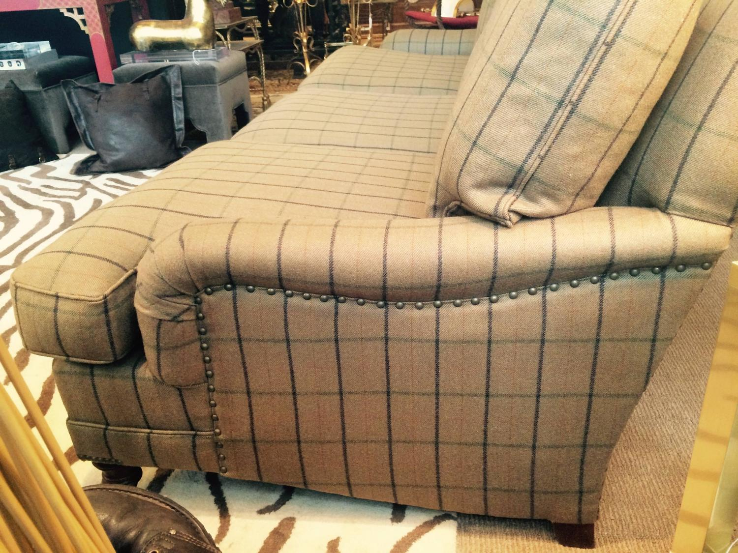 traditional camel plaid wool ralph lauren sofa at 1stdibs. Black Bedroom Furniture Sets. Home Design Ideas