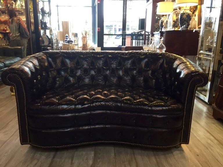 Dark Tobacco Brown Curved Tufted Leather Chesterfield Sofa