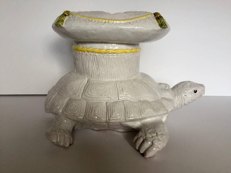 Sensational Italian Glazed Terracotta Turtle Garden Seat Cocktail Table