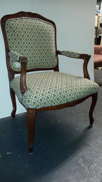 Louis XIV Pair of French Style Cherry Armchairs For Sale