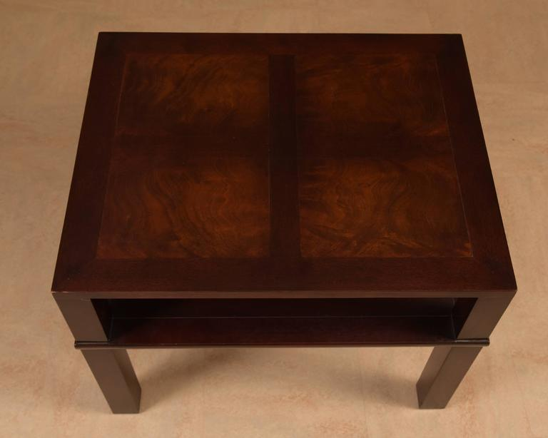 American Pair of James Mont Style Mid-Century Modern Mahogany End Tables For Sale