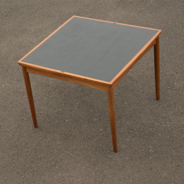 Danish Square Teak Flip Top Card Table With Leaves At Stdibs - Mid century modern card table