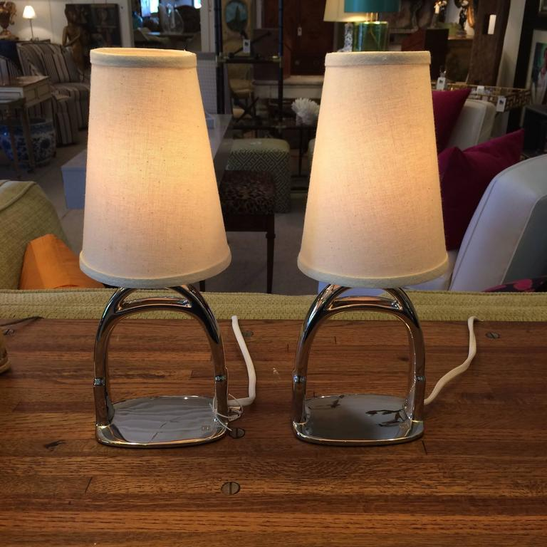 Chrome Ralph Lauren Saddle Stirrup Table Lamps At 1stdibs