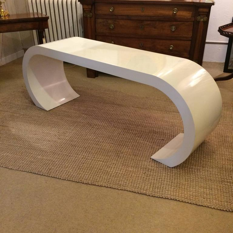 Glamorous Console Table In A Clic Mid Century Modern Karl Springer Style Waterfall Shape
