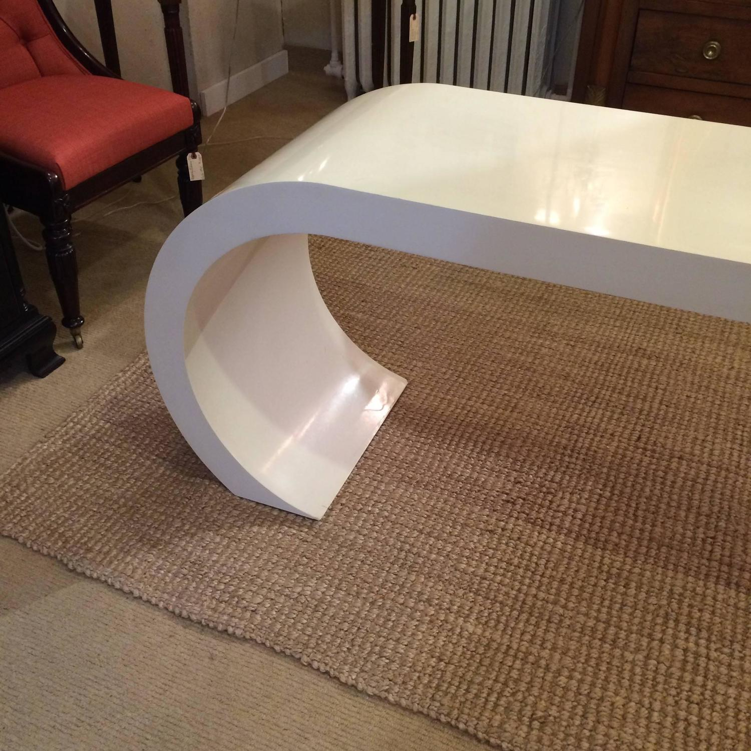 Sleek mid century modern white lacquer waterfall console for Modern white lacquer console table
