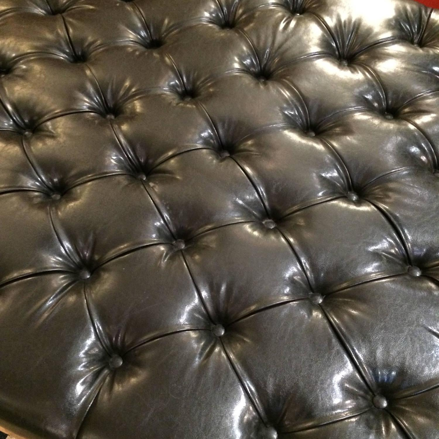 Very Large Button Tufted Black Faux Leather Ottoman Coffee