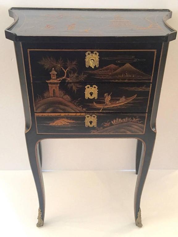 Small Black Nightstand With Drawers