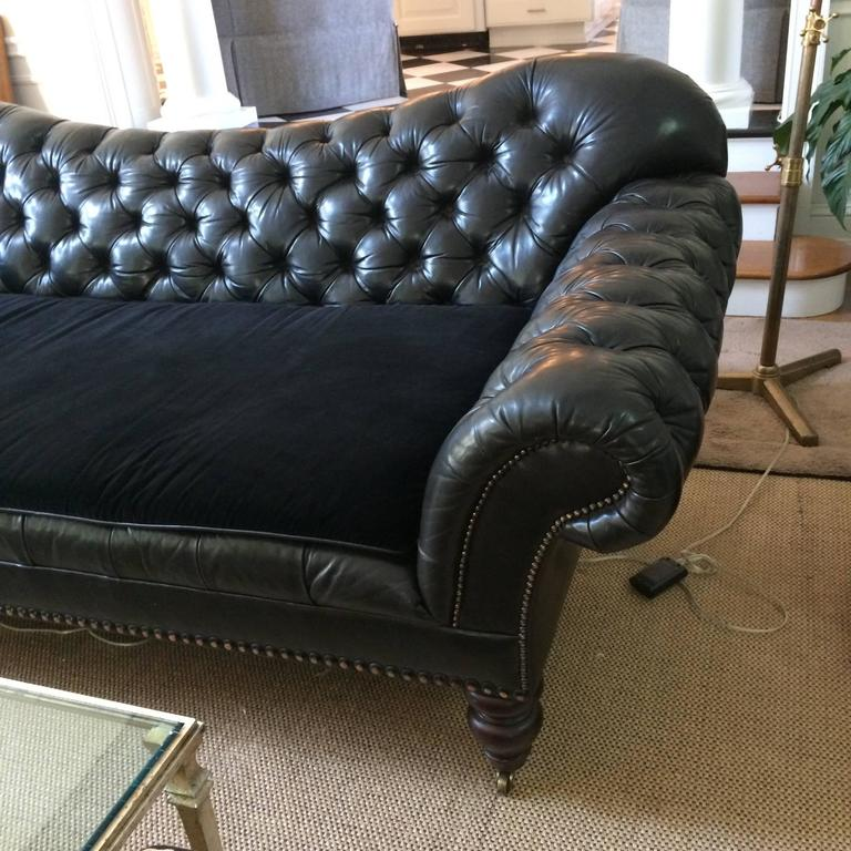 Ultra Sumptuous Ralph Lauren Tufted Black Leather Sofa At