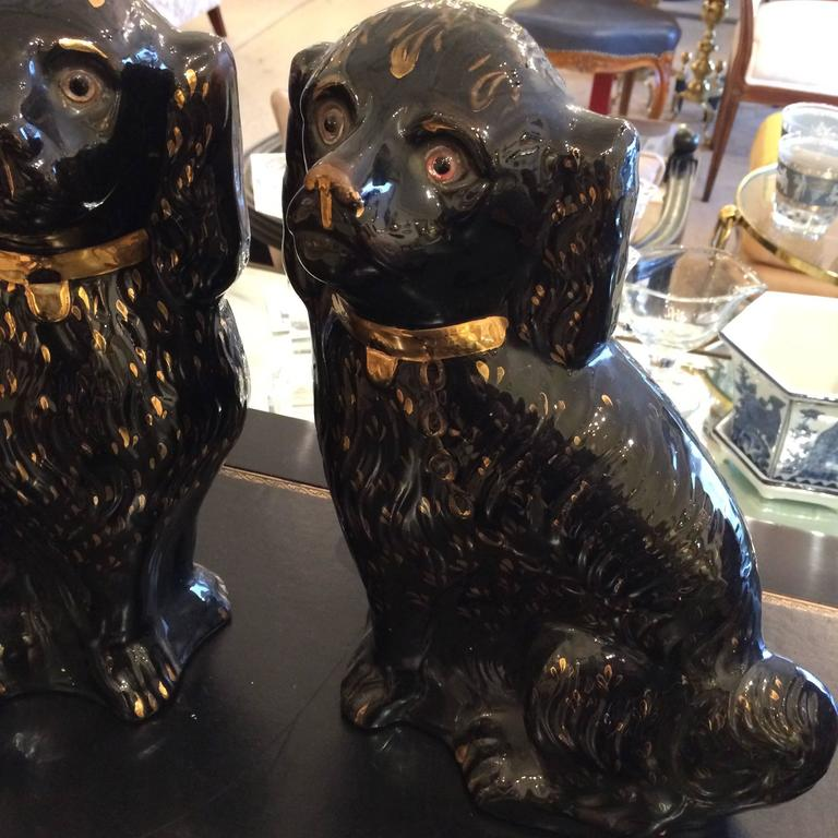 Large Pair of Antique Black and Gold Staffordshire Spaniels 3