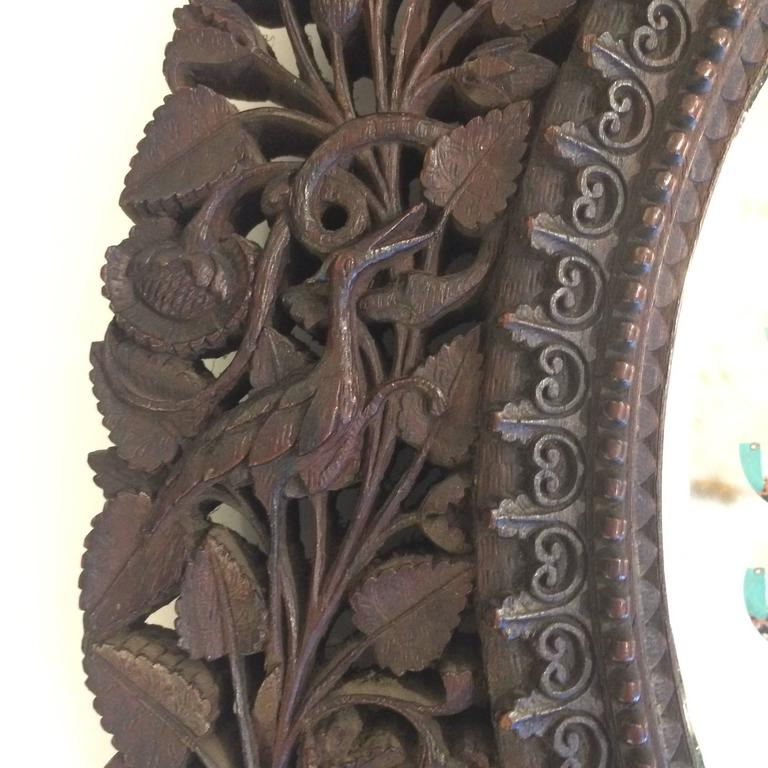 Pair Of Intricate Chinese Export Carved Wood Round