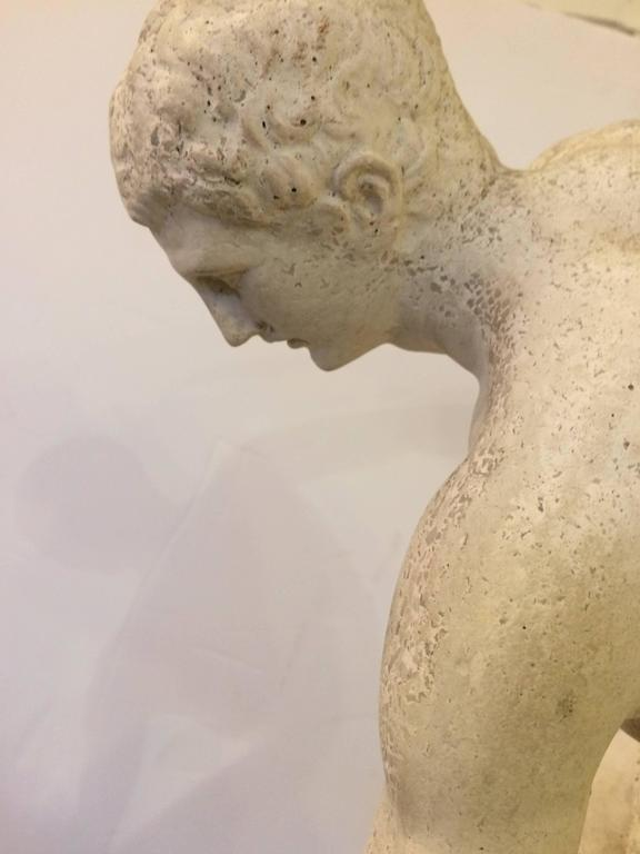 Classical plaster sculpture of Greek discus thrower with beautiful detail. Plaster has a good grayish and white color. Base is 11.5 W.