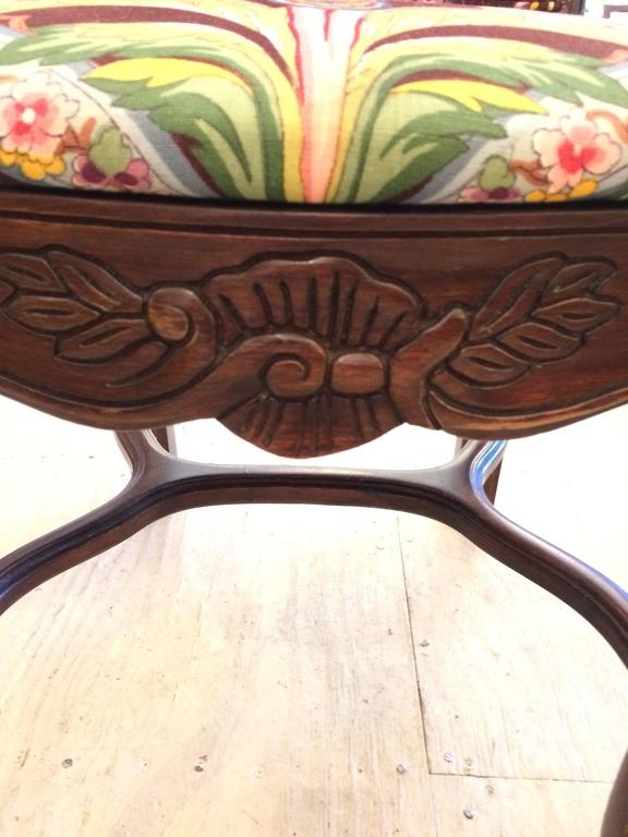 French Set of Six Carved Mahogany Dining Chairs with Brunschwig and Fils Upholstery For Sale