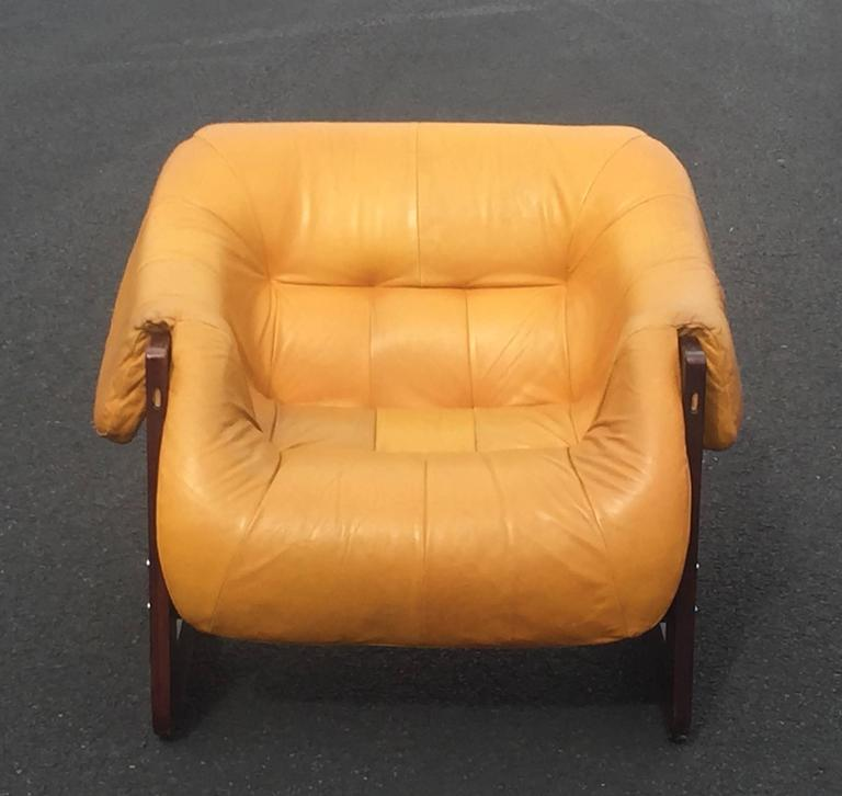 Percival Lafer Rosewood And Distressed Tufted Yellow: Mid-Century Modern Funky Brazilian Rosewood And Leather