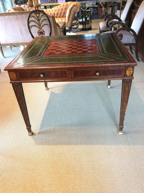 Gorgeous Inlaid And Tooled Leather Game Table At 1stdibs