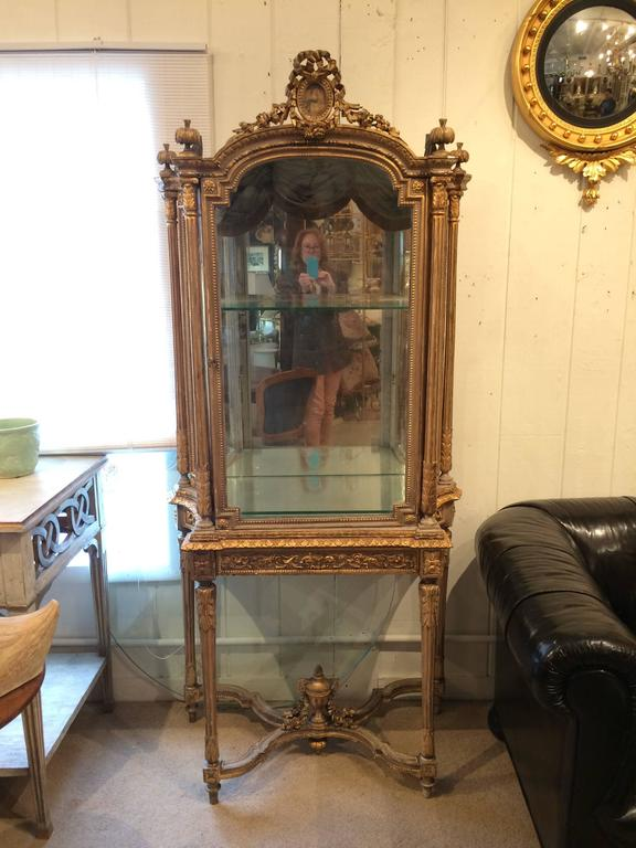 Superb and Rare Ornate Giltwood Louis XVI Vitrine Showcase ...