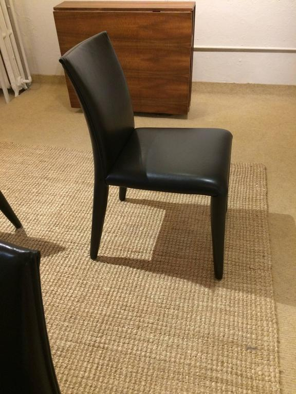 Set of four sexy b and b italia black leather dining side for B b italia dining room chairs