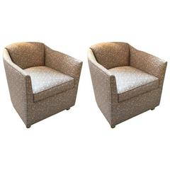 Swanky Pair Of Mid Century Modern Tub Chairs On Casters