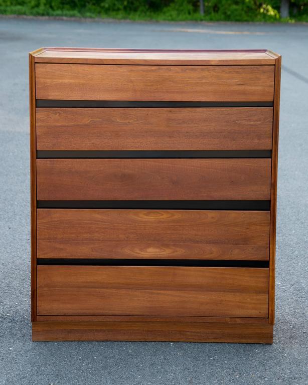 Handsome Dillingham Esprit Walnut Highboy Dresser And