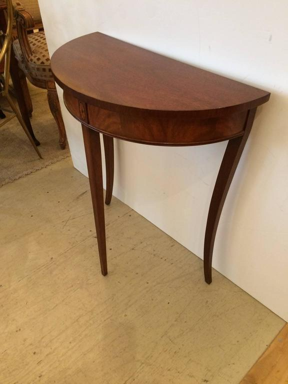 Lovely Small Mahogany and Satinwood Inlay Demilune Console Table at