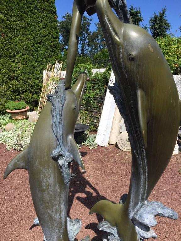 American Fantastic Bronze Statue With Mermaid And Dolphins For Sale