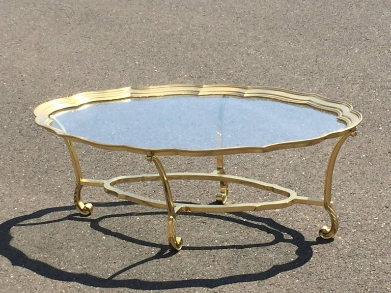 Elegant Brass And Glass Labarge Coffee Table For Sale At