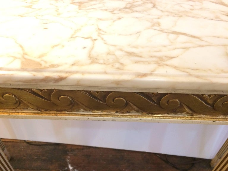 Engraved Limestone Inlay : Pretty french carved wood console with marble top for sale