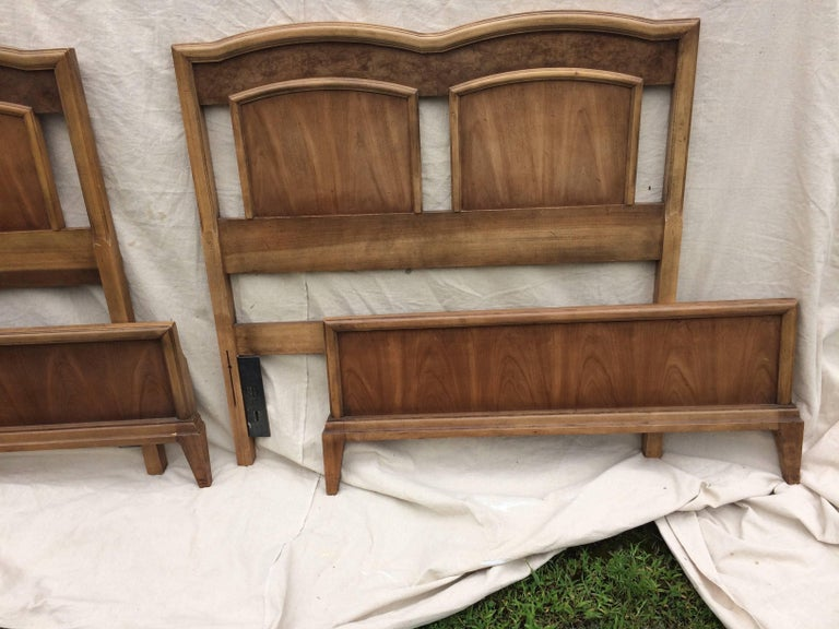Pair Of Mid Century Modern Mixed Wood Twin Beds For Sale At 1stdibs