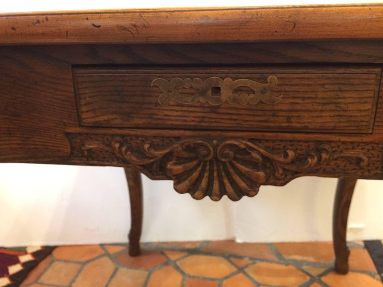 Baker Furniture Rich Oak And Tooled Leather Game Table At