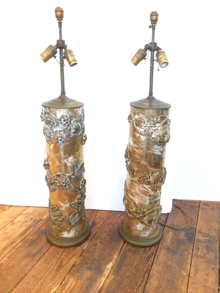 rare pair of large glamorous glass and carved wood table lamps for sale at 1stdibs. Black Bedroom Furniture Sets. Home Design Ideas