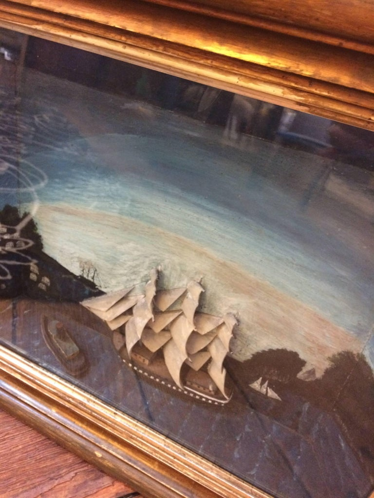 Folk Art Jewel of an Antique Ship Scene Diorama For Sale