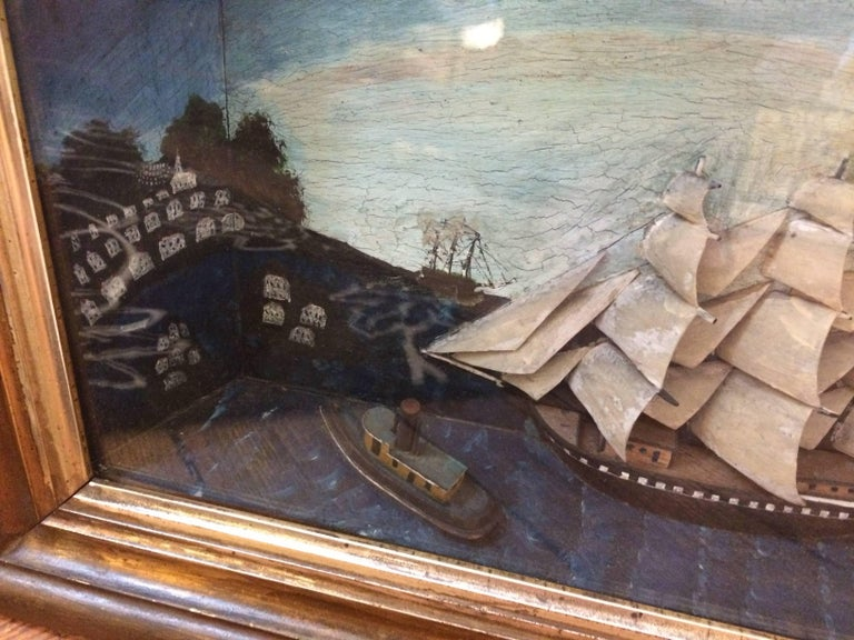 American Jewel of an Antique Ship Scene Diorama For Sale