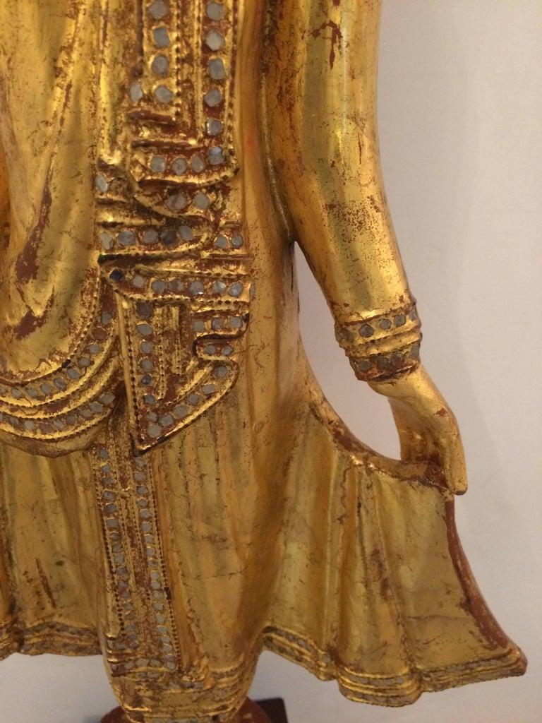 Gem of a Giltwood Thai Buddha Sculpture For Sale 2